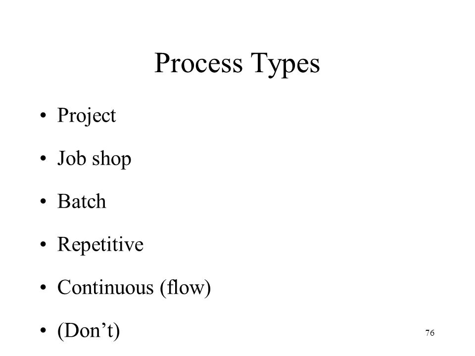 Process Types Project Job shop Batch Repetitive Continuous (flow)
