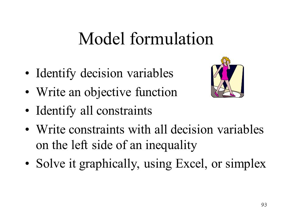 Model formulation Identify decision variables
