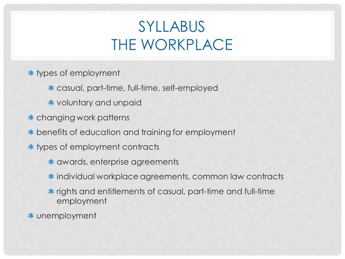 Syllabus The Workplace
