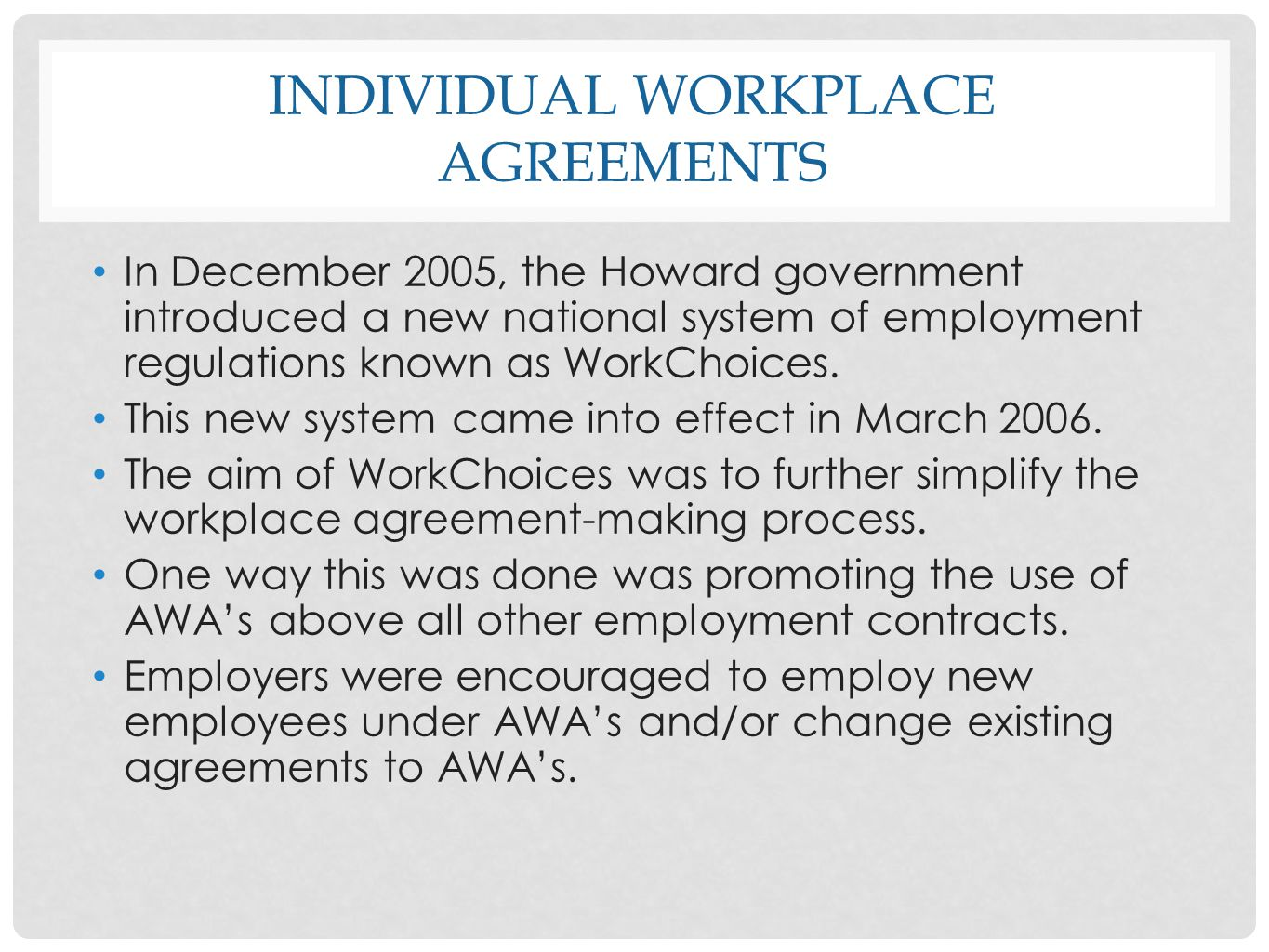 individual workplace agreements