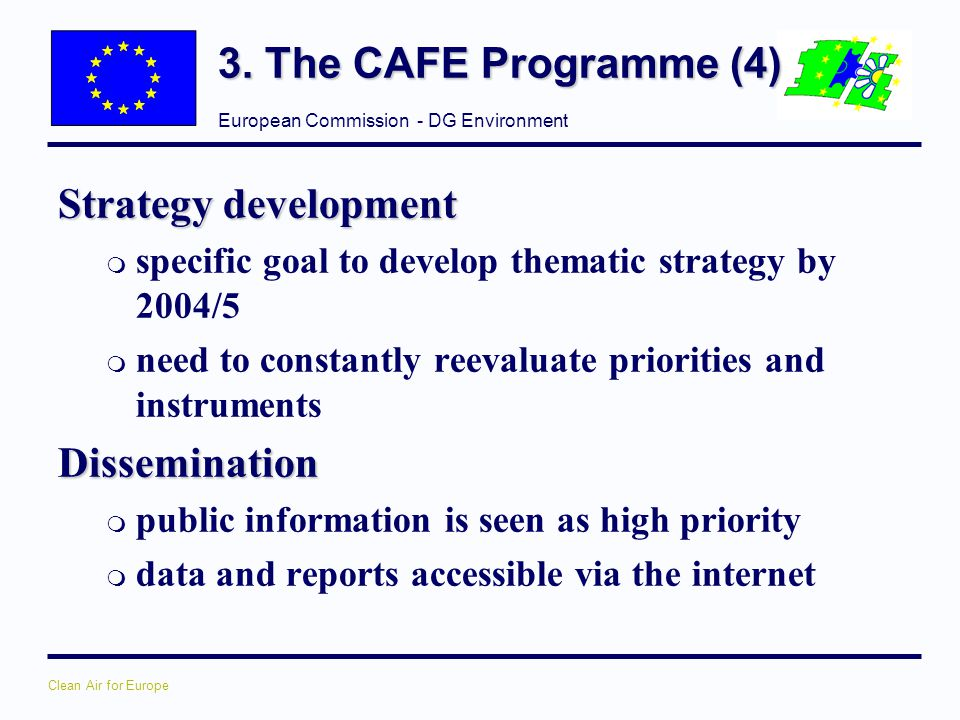 3. The CAFE Programme (4) Strategy development Dissemination