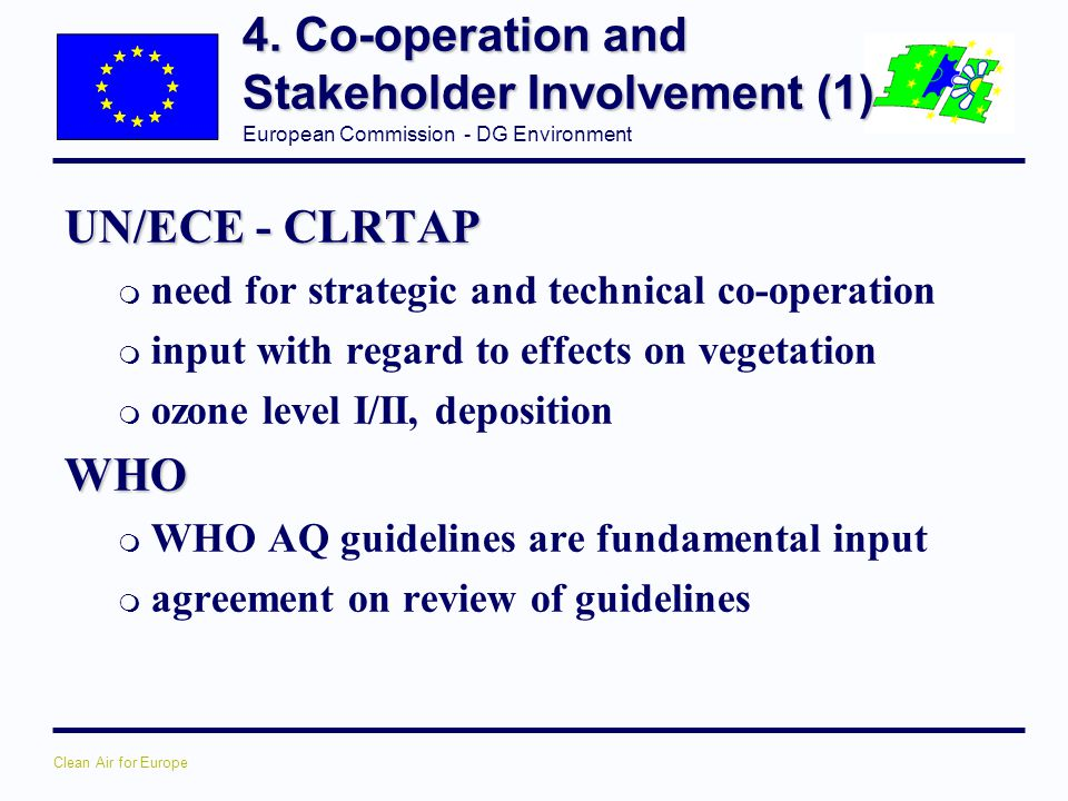 4. Co-operation and Stakeholder Involvement (1)