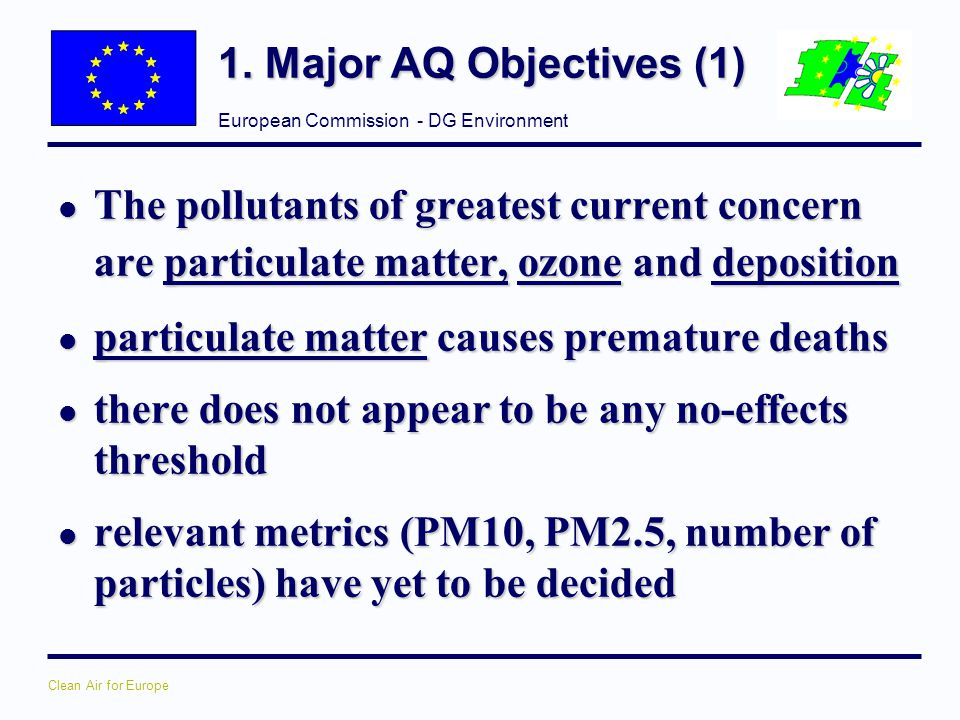 1. Major AQ Objectives (1) The pollutants of greatest current concern are particulate matter, ozone and deposition.