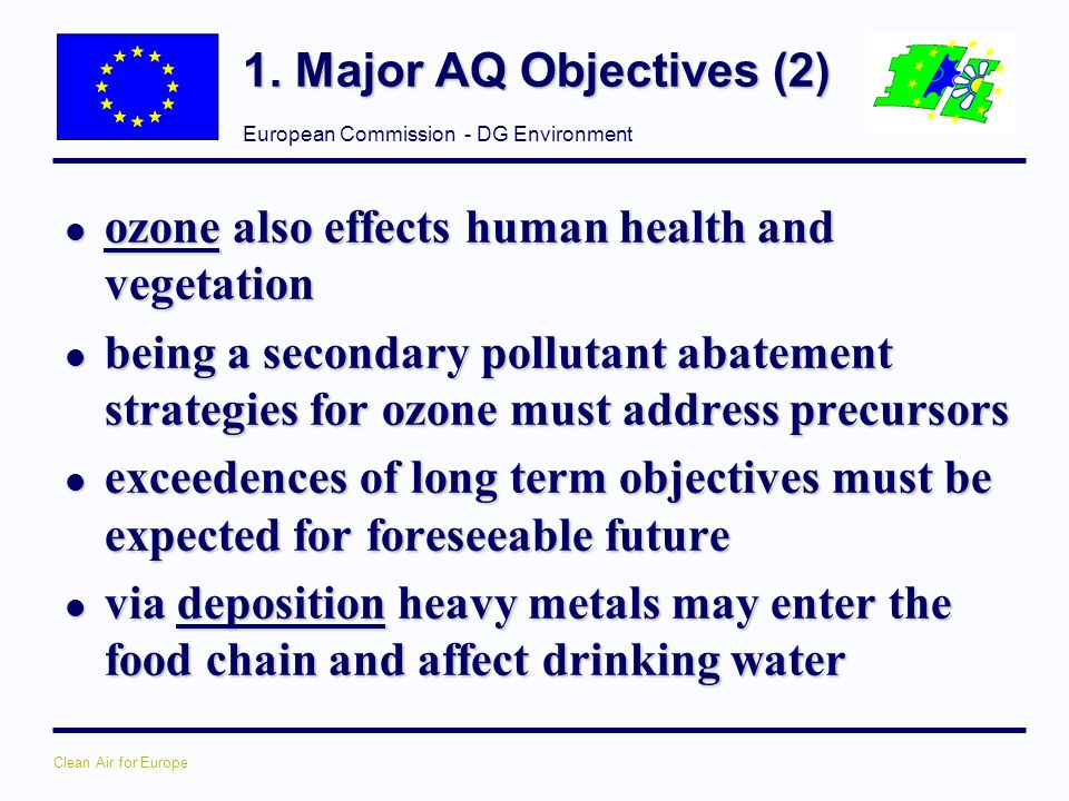 1. Major AQ Objectives (2) ozone also effects human health and vegetation.
