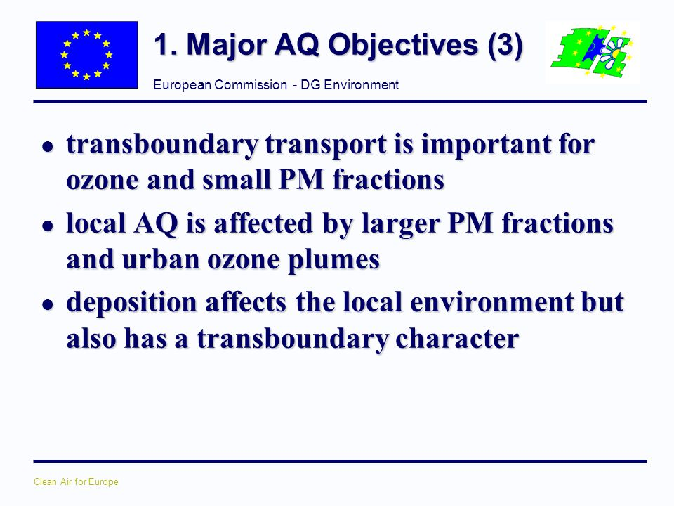 1. Major AQ Objectives (3) transboundary transport is important for ozone and small PM fractions.