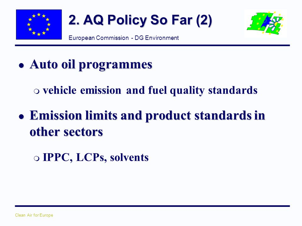 Emission limits and product standards in other sectors