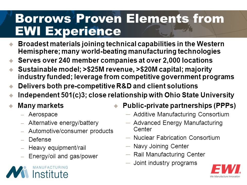 Borrows Proven Elements from EWI Experience
