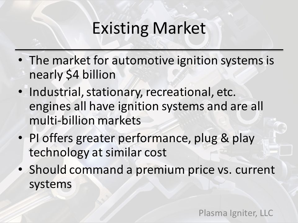 Existing Market The market for automotive ignition systems is nearly $4 billion.