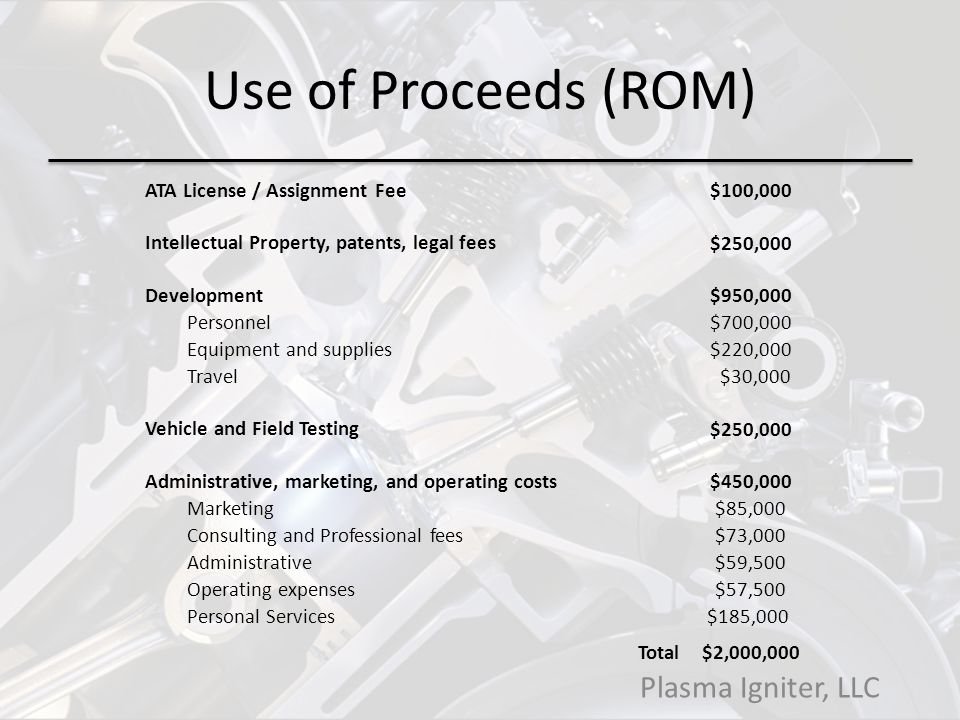 Use of Proceeds (ROM) Plasma Igniter, LLC ATA License / Assignment Fee