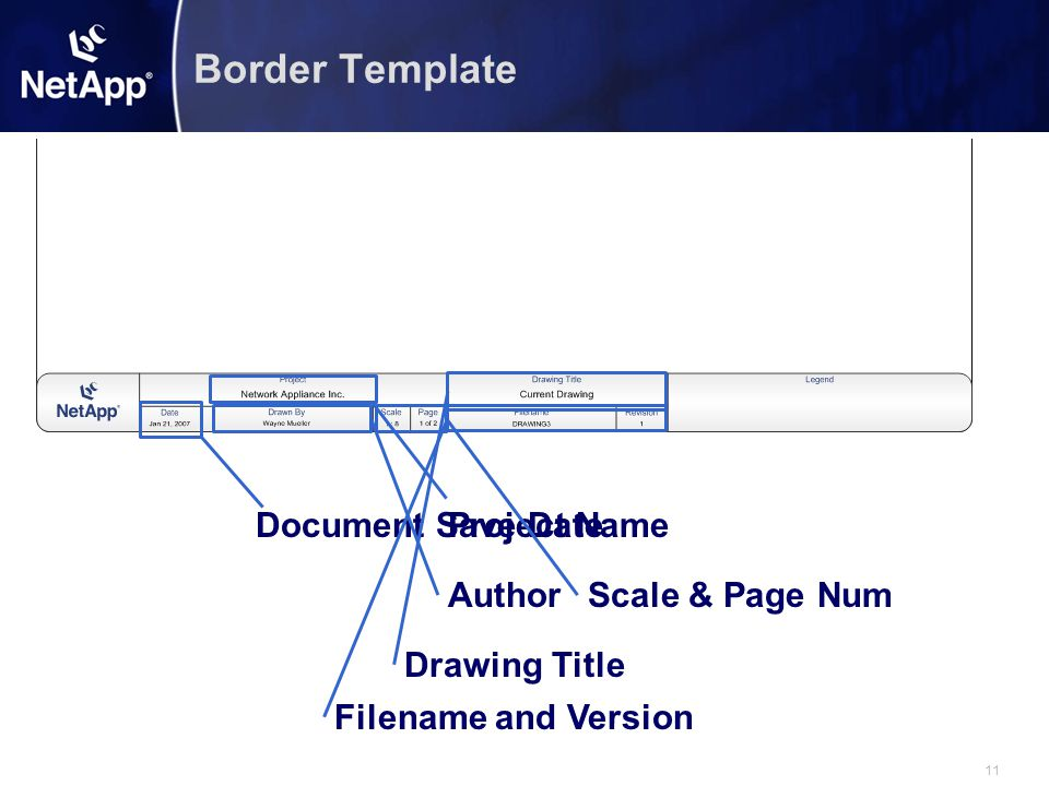 Border Template Document Save Date Project Name Author