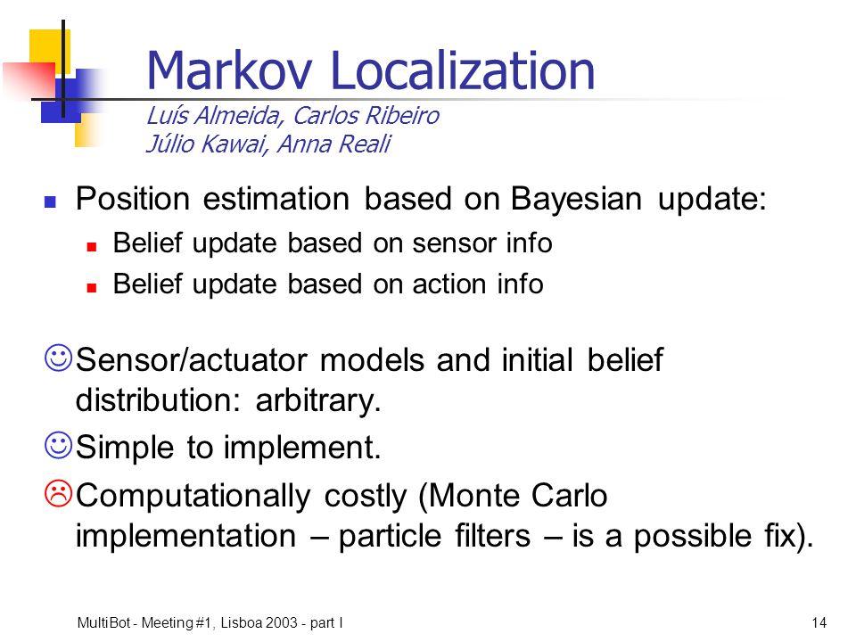 Markov Localization Luís Almeida, Carlos Ribeiro Júlio Kawai, Anna Reali