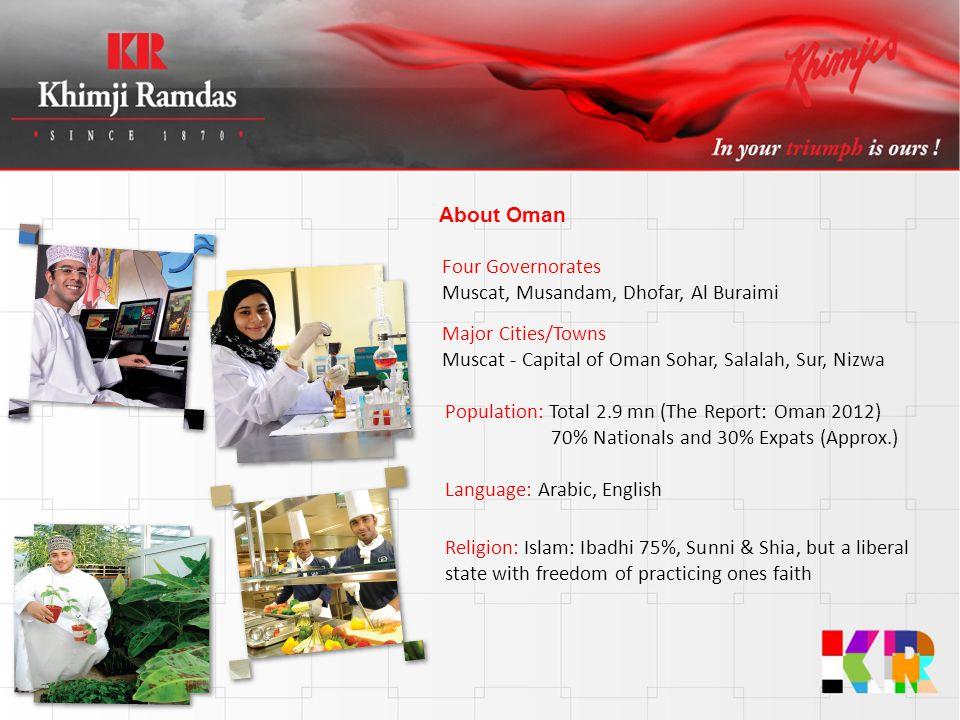 About Oman Four Governorates Muscat, Musandam, Dhofar, Al Buraimi. Major Cities/Towns. Muscat - Capital of Oman Sohar, Salalah, Sur, Nizwa.