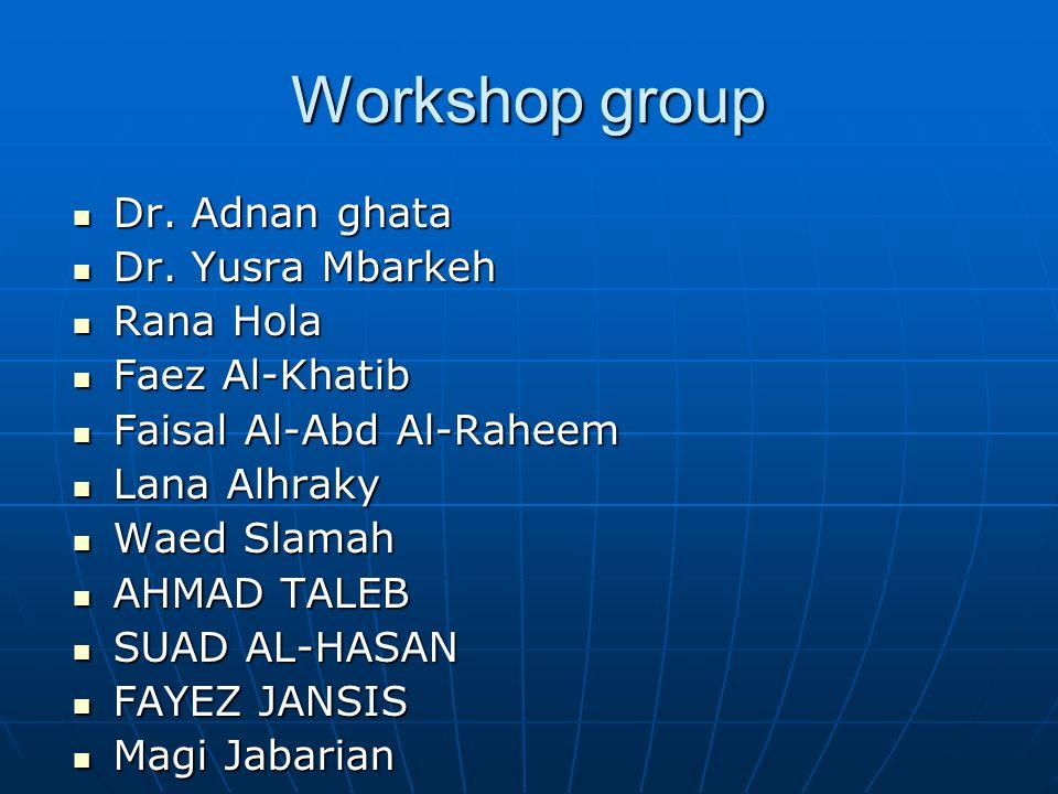 Workshop group Dr. Adnan ghata Dr. Yusra Mbarkeh Rana Hola