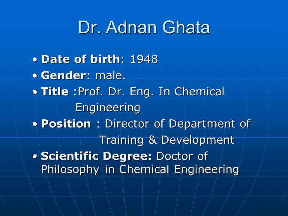 Dr. Adnan Ghata Date of birth: 1948 Gender: male.