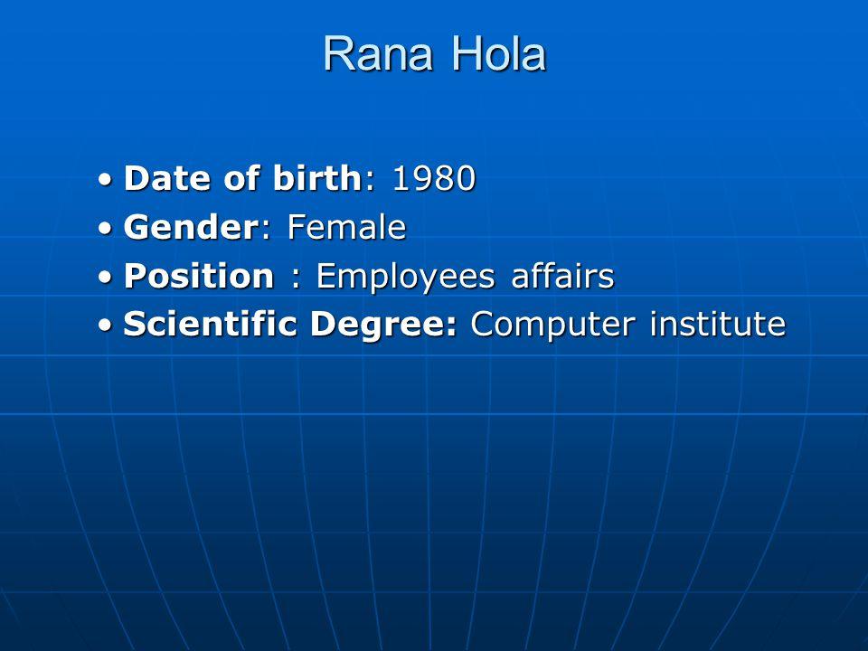 Rana Hola Date of birth: 1980 Gender: Female