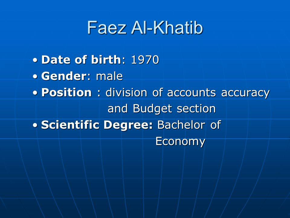 Faez Al-Khatib Date of birth: 1970 Gender: male