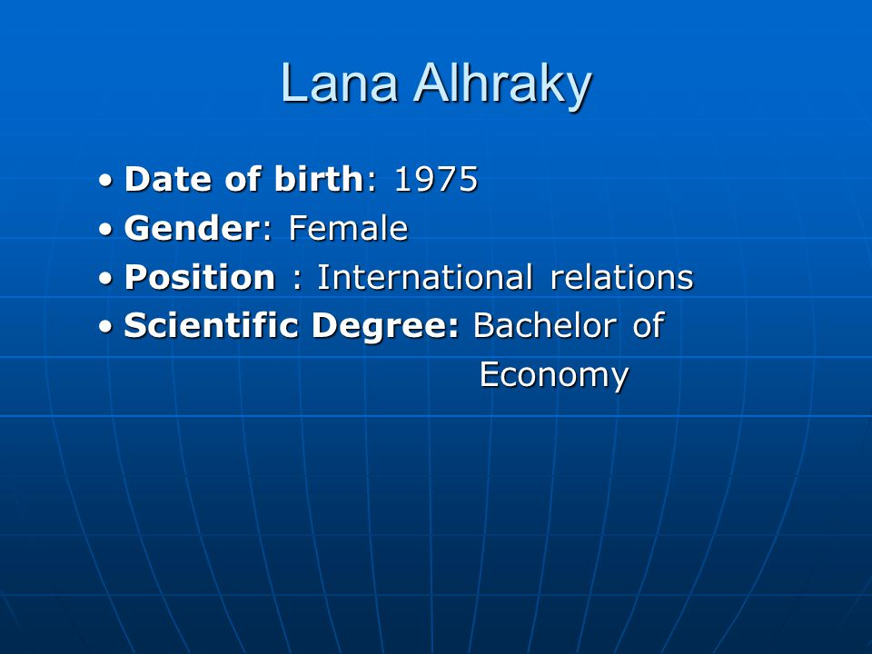 Lana Alhraky Date of birth: 1975 Gender: Female