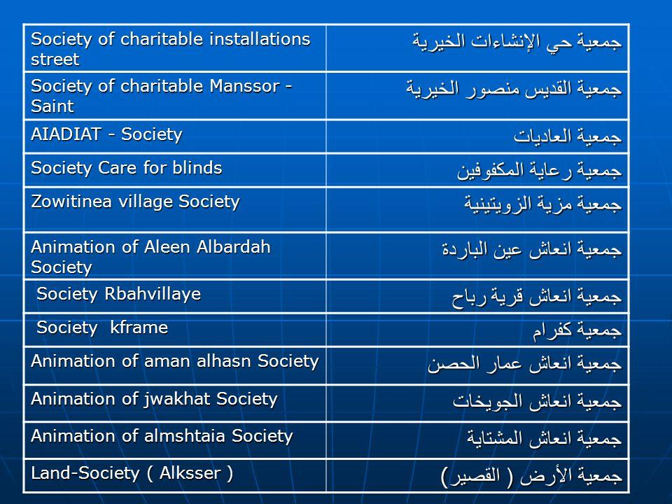 جمعية حي الإنشاءات الخيرية جمعية القديس منصور الخيرية جمعية العاديات