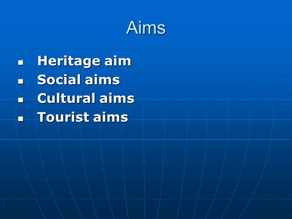 Aims Heritage aim Social aims Cultural aims Tourist aims