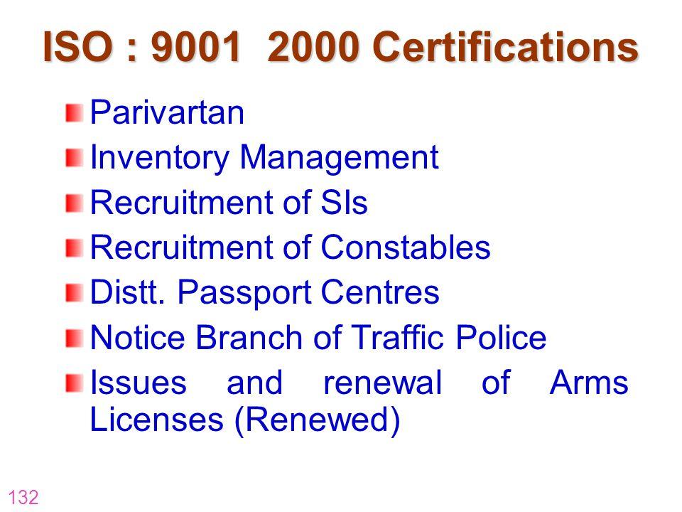 ISO : 9001 2000 Certifications Parivartan Inventory Management