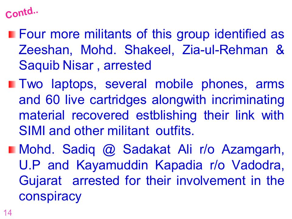 Contd.. Four more militants of this group identified as Zeeshan, Mohd. Shakeel, Zia-ul-Rehman & Saquib Nisar , arrested.
