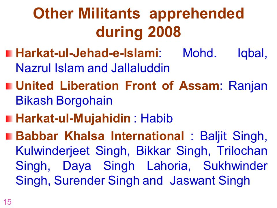 Other Militants apprehended during 2008