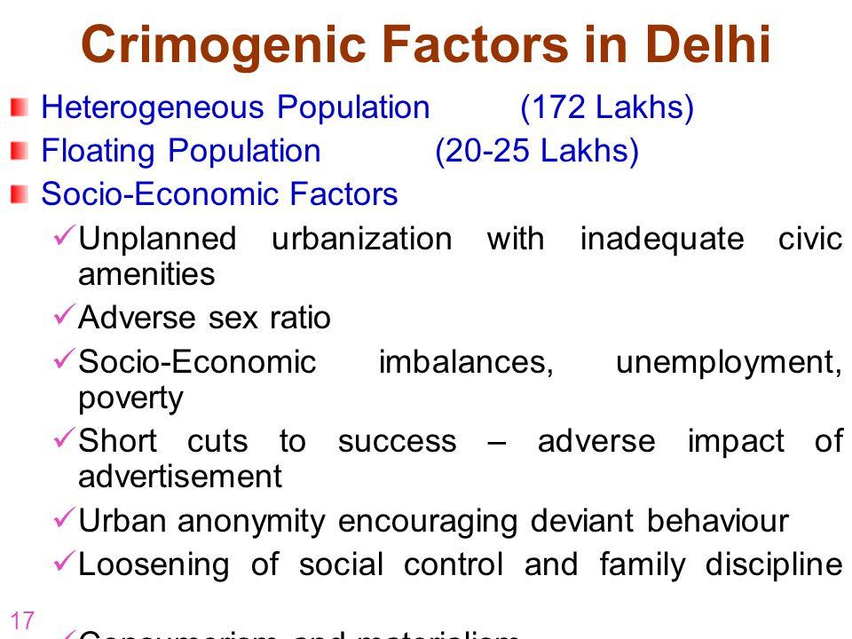Crimogenic Factors in Delhi