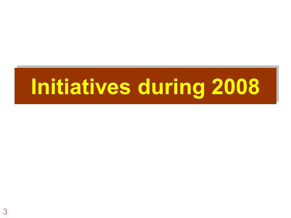 Initiatives during 2008