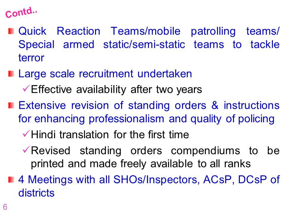 Large scale recruitment undertaken