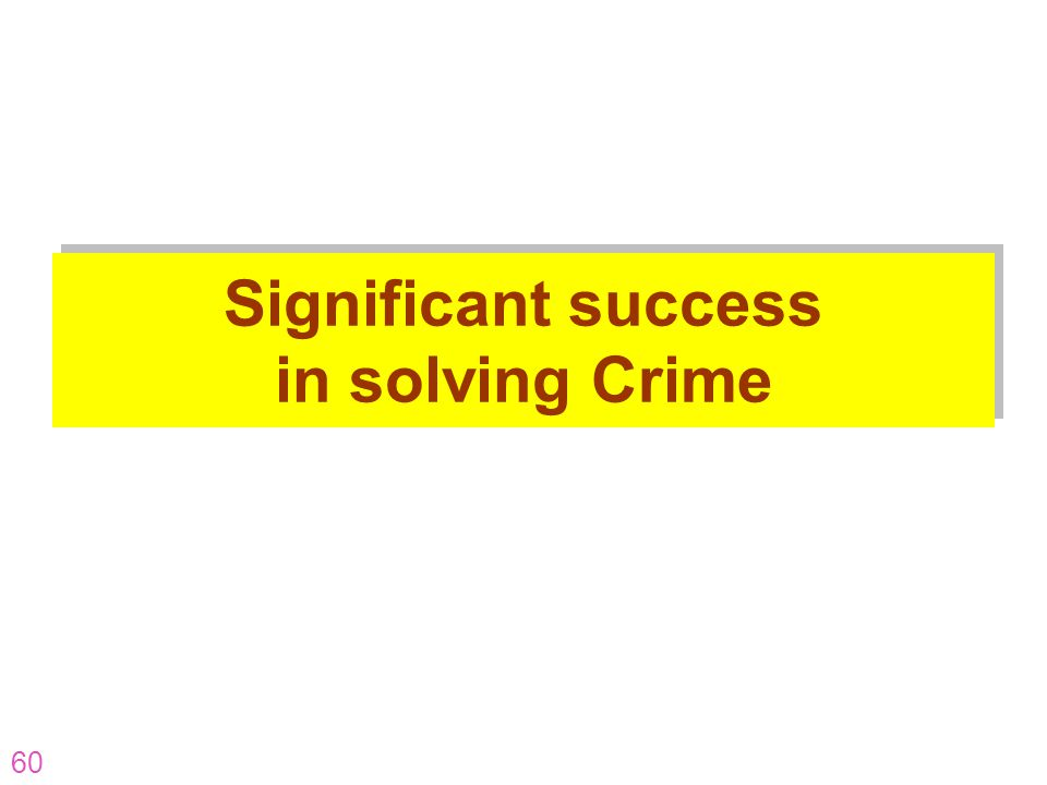 Significant success in solving Crime