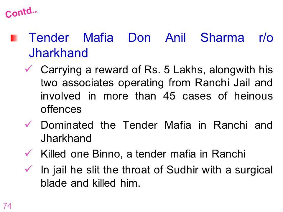 Tender Mafia Don Anil Sharma r/o Jharkhand