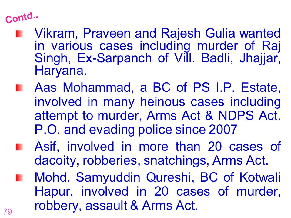 Contd.. Vikram, Praveen and Rajesh Gulia wanted in various cases including murder of Raj Singh, Ex-Sarpanch of Vill. Badli, Jhajjar, Haryana.
