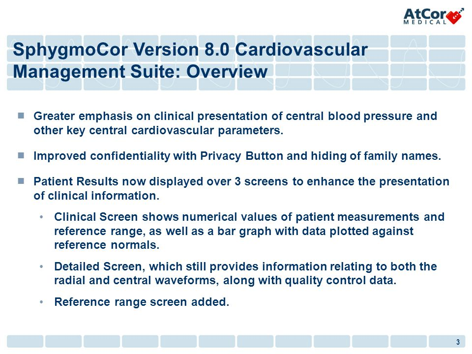 SphygmoCor Version 8.0 Cardiovascular Management Suite: Overview