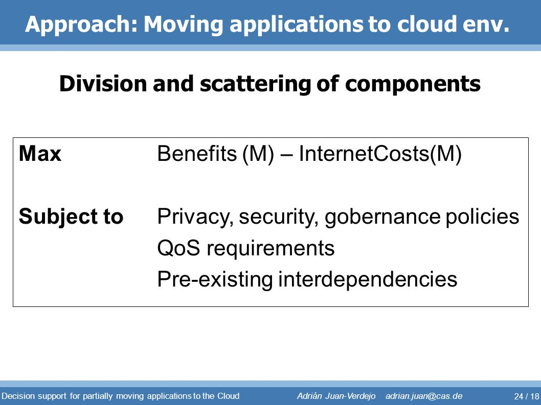 Approach: Moving applications to cloud env.