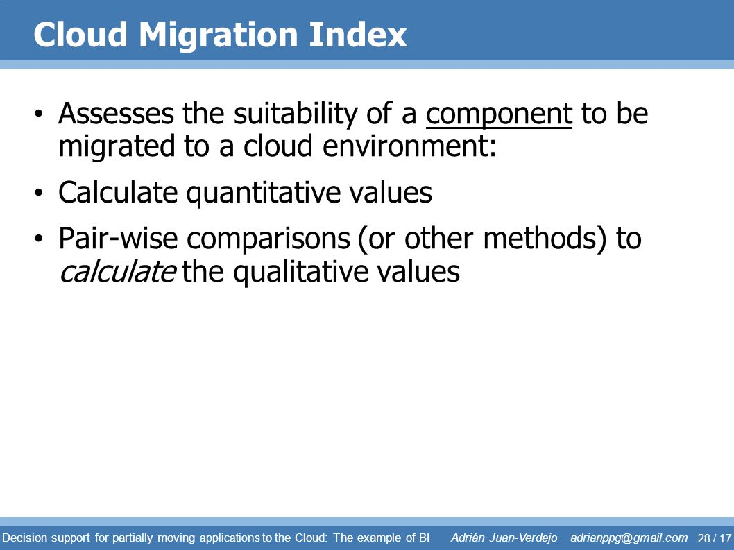 Cloud Migration Index Assesses the suitability of a component to be migrated to a cloud environment: