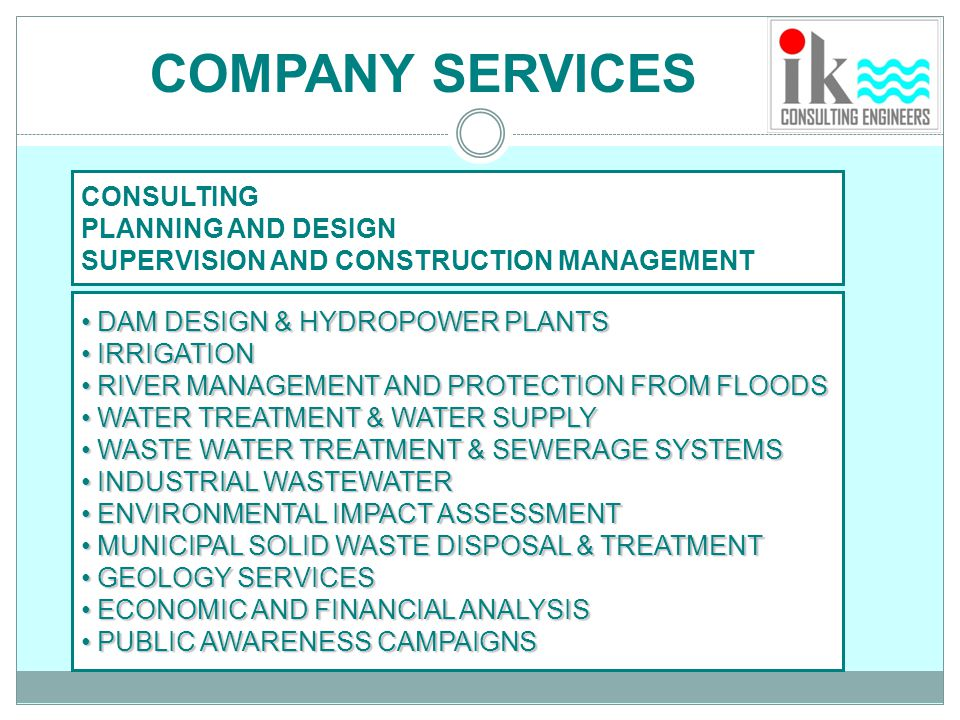 COMPANY SERVICES CONSULTING PLANNING AND DESIGN