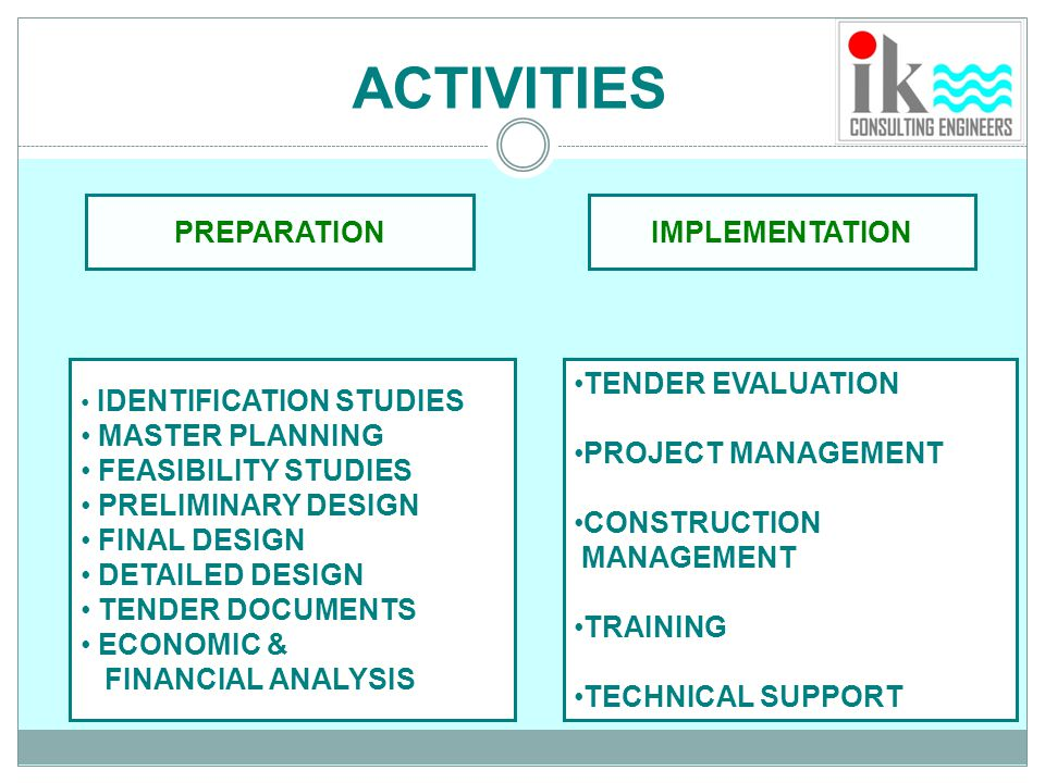ACTIVITIES PREPARATION IMPLEMENTATION MASTER PLANNING