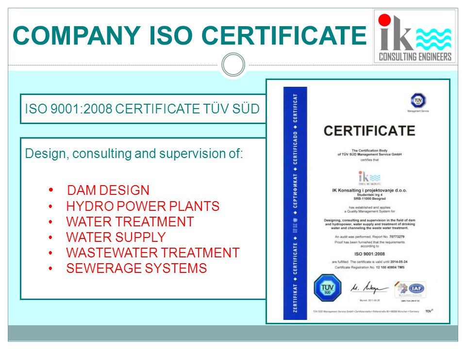 COMPANY ISO CERTIFICATE