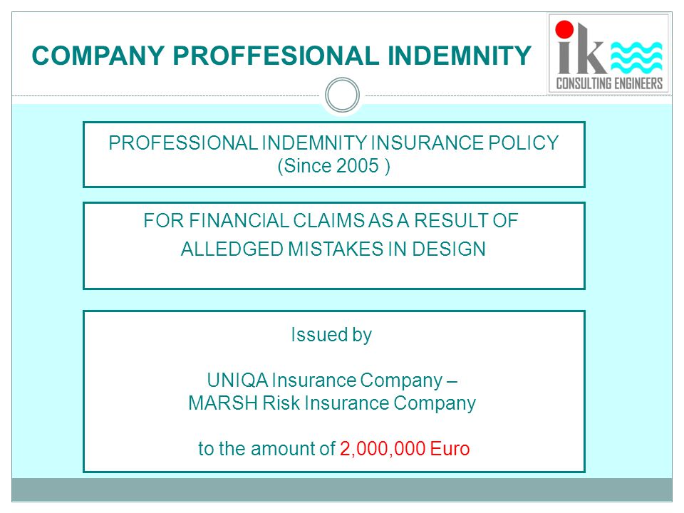 COMPANY PROFFESIONAL INDEMNITY
