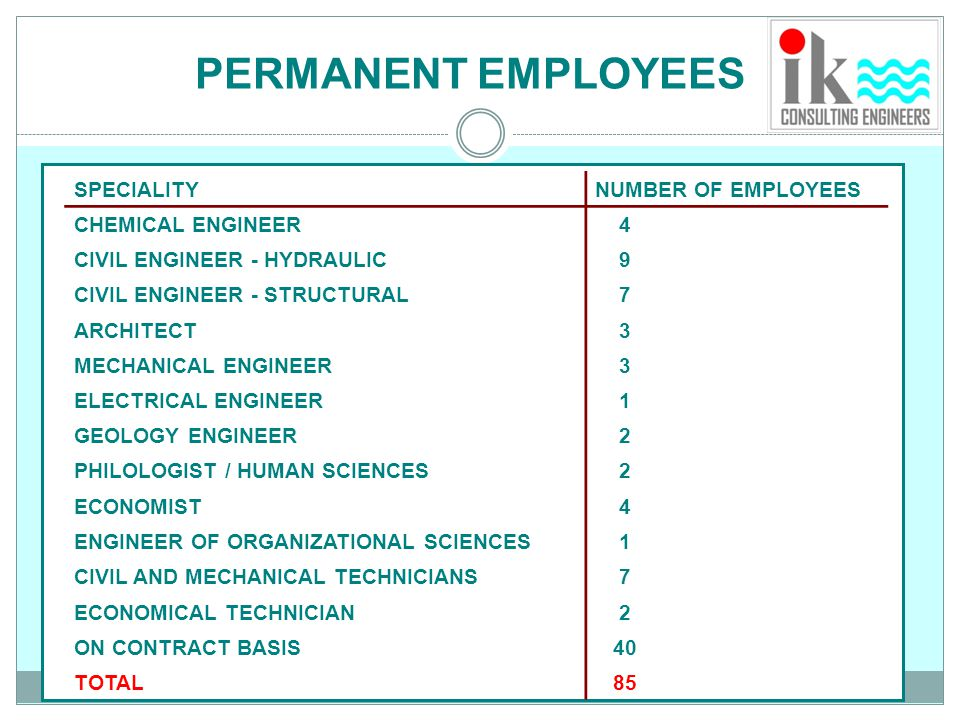 PERMANENT EMPLOYEES SPECIALITY NUMBER OF EMPLOYEES CHEMICAL ENGINEER 4