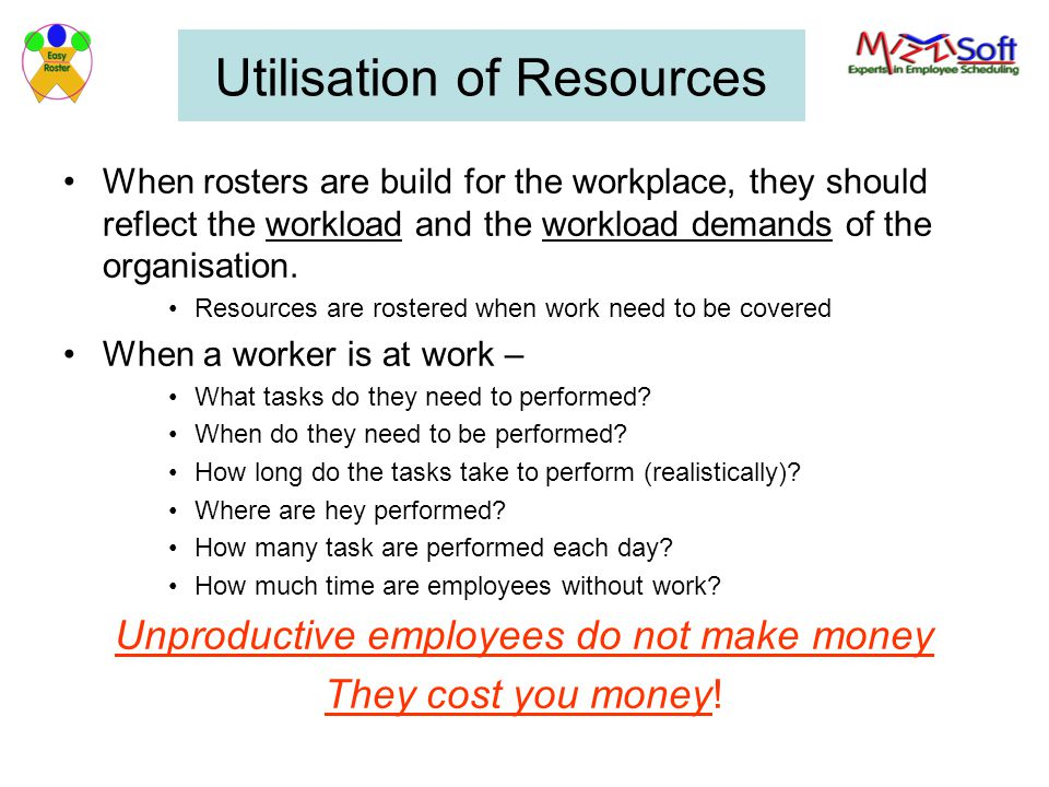 Utilisation of Resources