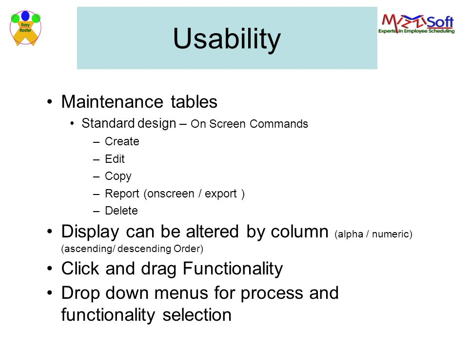 Usability Maintenance tables