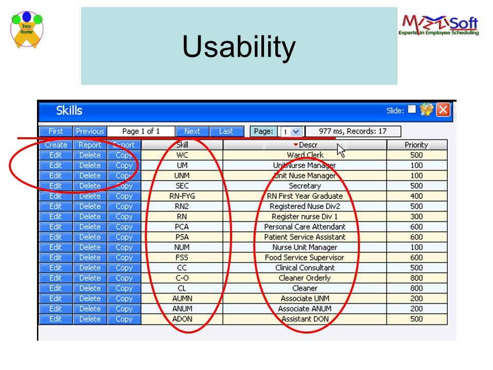 Usability With table with a large number of records scrolling is easy, the system tells you how many pages and select by page number.