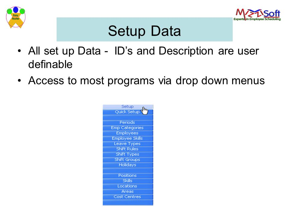 Setup Data All set up Data - ID's and Description are user definable