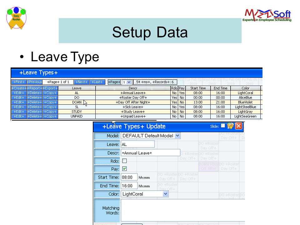 Setup Data Leave Type Leave type can be paid / non paid leave