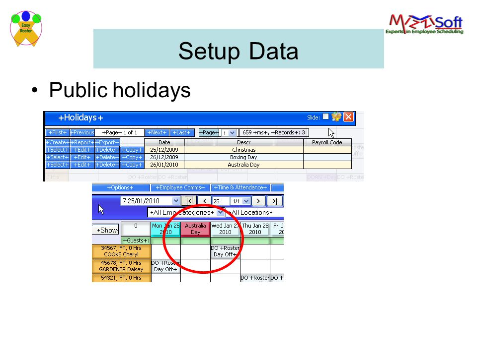 Setup Data Public holidays
