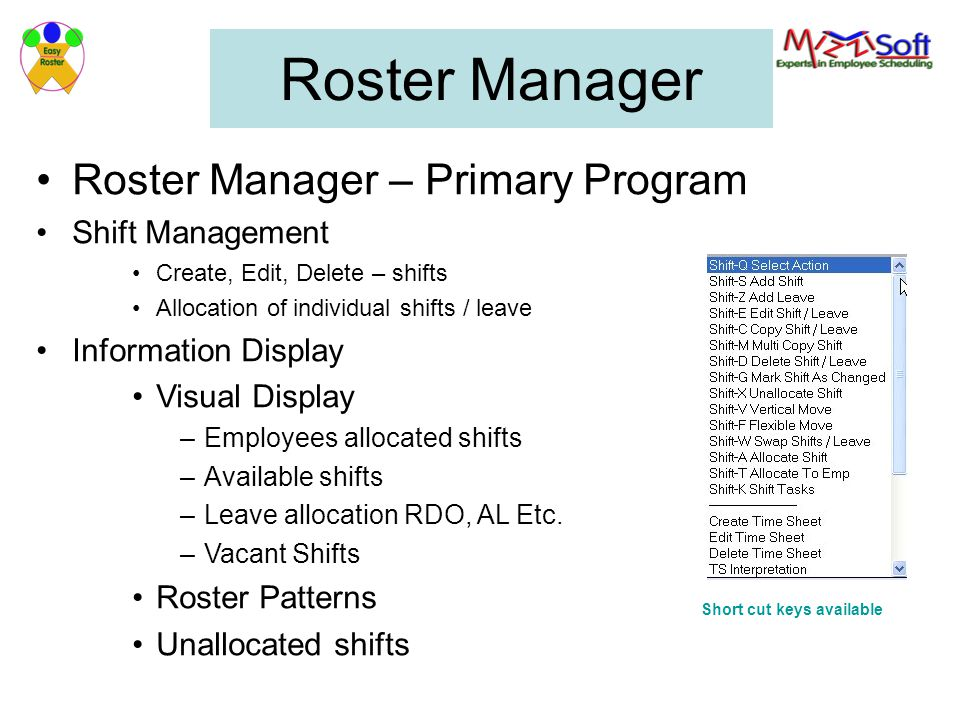 Roster Manager Roster Manager – Primary Program Shift Management
