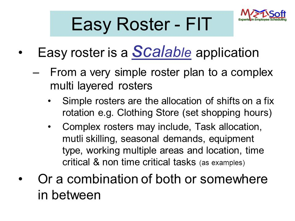 Easy Roster - FIT Easy roster is a scalable application