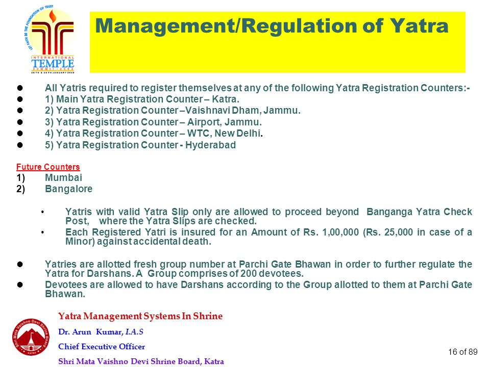 Management/Regulation of Yatra