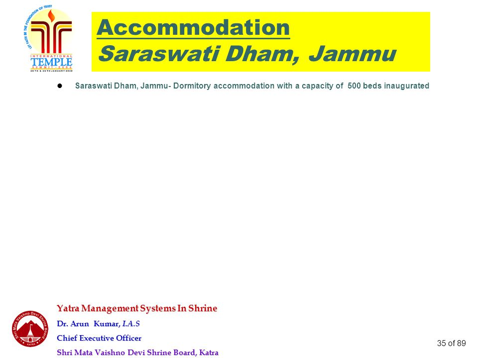 Accommodation Saraswati Dham, Jammu